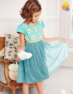 Daisy Party Dress 33363 Special Occasion Dresses at Boden . An enchanting dress with a cotton / sateen bodice over a floaty tulle skirt. Fully lined. Little Girl Dresses, Flower Girl Dresses, Daisy Dress, Daisy Party, Dresser, Girls Party Dress, Prom Dress, Special Occasion Dresses, Beautiful Outfits