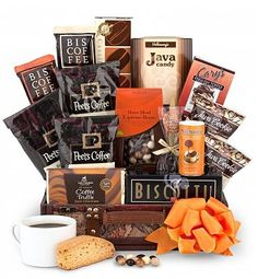 Surprise a coffee lover with this gourmet coffee gift that features Peet's Coffees, biscotti, Dolcetto wafer rolls, and more coffee treats! Coffee Gift Baskets, Holiday Gift Baskets, Gourmet Gift Baskets, Gourmet Gifts, Food Gifts, Basket Gift, Tea Gifts, Coffee Gifts, Wine Recipes