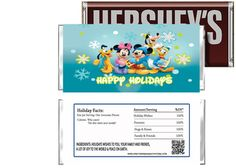 Mickey and Pals Happy Holidays Candy Bar Wrappers