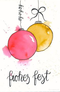 Watercolor Christmas cards & wrap gifts beautifully- Weihnachtskarten aquarellieren & Geschenke schön verpacken Make Christmas cards yourself – watercolor with water-color pencils and hand-lettering. Painted Christmas Cards, Simple Christmas Cards, Handmade Christmas Tree, Watercolor Christmas Cards, Homemade Christmas Cards, Christmas Cards To Make, Holiday Cards, Christmas Diy, Merry Christmas