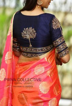 PV 3551 : Navy blue and PinkPrice : Rs 7200 Flaunt this lovely party wear drape this wedding season. Dual toned silk sari in pink and peach colours with self patterned zari touc 08 November 2017 blue blouse I love hate Saree tho Silk Saree Blouse Designs, Saree Blouse Patterns, Fancy Blouse Designs, Designer Blouse Patterns, Blouse Neck Designs, Blouse Styles, Choli Designs, Silk Sarees, Sari Bluse