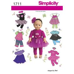 """Doll clothes pattern to fit any 18"""" doll includes dresses in several styles, tops, pants, tulle skirts and headbands. Mix and match pieces to create a fun wardrobe for your favorite doll. Simplicity sewing pattern by Teri Miliano."""