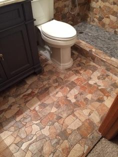 Merola Tile Attica Gris in. Ceramic Floor and Wall Tile sq. / case) at The Home Depot - Mobile Rustic Bathroom Designs, Rustic Bathroom Shower, Stone Bathroom, Stone Flooring, Flooring Ideas, Bathroom Flooring, Wall Tiles, Granite Remnants, Project Place