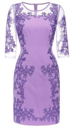 Purple Embroidered Gauze Dress