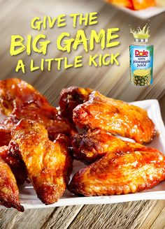 Pineapple Aloha Chicken Wings!  This delicious recipe, made  with 100% DOLE® Canned  Pineapple Juice, can be prepared in under 15 minutes and will  have them asking for seconds  before the end of the first quarter. #KINGofJUICES