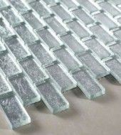 """Ice - Galaxy Series 1""""x2"""" Silver Color Glass Tile"""