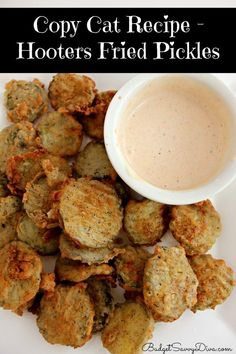 Copy Cat Recipe – Hooters Fried Pickles Recipe on Yummly. Think Food, I Love Food, Good Food, Yummy Food, Healthy Food, Appetizer Recipes, Appetizers, Snack Recipes, Fondue Recipes