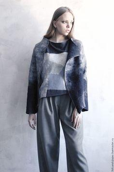 Felted jacket | Купить Куртка из валяного войлока с застёжкой на косую молнию - куртка, куртка на молнии, куртка женская