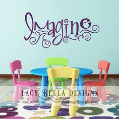 "www.lacybella.com  ""Imagine"" vinyl lettering wall art decal home decor sticker"