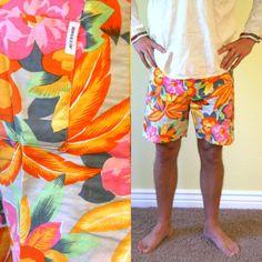 Vintage Mens swim trunks/ hawaiian swim shorts/ Mens Medium
