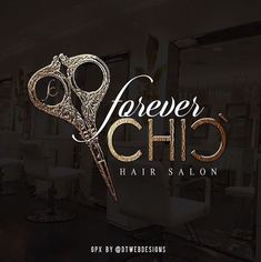 Forever Chic Hair Salon logo designed at DT Webdesigns Hair Salon Names, Hair Salon Logos, Beauty Salon Names, Hair And Beauty Salon, Saloon Names, Chi Hair Products, Salon Signs, Makeup Artist Logo, Hairstylist Business Cards