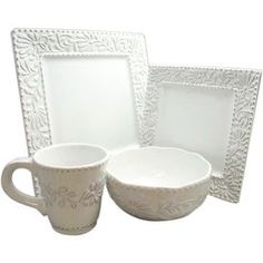 """Create a charming tablescape for your guests to enjoy with this chic entertaining necessity.    Product: 4 Dinner plates4 Salad plates4 Soup bowls4 Mugs    Construction Material: Earthenware   Color: White Features:  Charming presentation    Great for parties        Dimensions: Dinner plate: 10.75"""" H x 10.75"""" W eachSalad plate: 8.25"""" H x 8.25"""" W eachSoup bowl: 6.5"""" Diameter eachMug: 4"""" Diameter each Cleaning and care: Dishwasher safe Shipping: This item ships small parcelExpected Arrival…"""