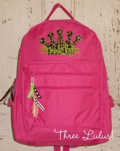 Personalized Backpack Monogrammed Applique Princess Crown Tote Book Bag Girl. $30.00, via Etsy.