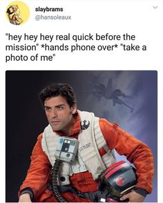 """""""Hey hey hey real quick before the mission"""" *hands phone over* """"take a photo of me."""""""