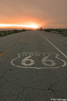 Sunset on historic Route 66 near Amboy, California.