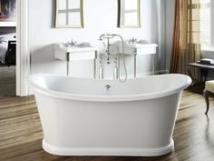 Americh International Boat Freestanding Bathtub - White x 27 x Stand Alone Bathtubs, Stand Alone Tub, Traditional Baths, Traditional Bathroom, Bathroom Styling, Bathroom Interior Design, Bathroom Ideas, Bath Ideas, Bathroom Tubs