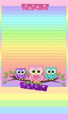 Rainbow colors = LOVE to the power of The owls are cute. Cute Owls Wallpaper, Hello Kitty Wallpaper, Heart Wallpaper, Animal Wallpaper, Cellphone Wallpaper, Wallpaper Backgrounds, Iphone Wallpaper, Owl Clip Art, Owl Art