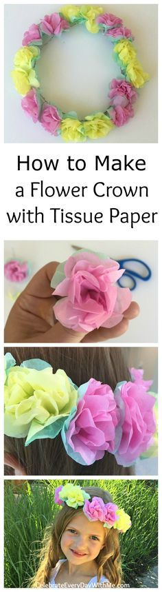 How to make a flower crown with tissue paper -