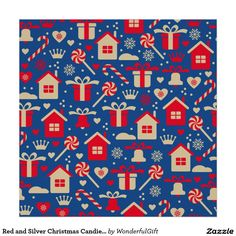 Red and Silver Christmas Candies and Gifts Pattern Poster