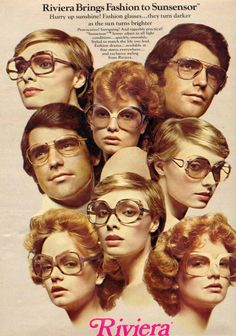 Those Glasses: Eyewear from the Disco Decade and Beyond - - Brille Mode Vintage, Vintage Ads, Vintage Posters, Vintage Vibes, Vintage Shops, Vintage Style, 70s Fashion, Fashion Art, Vintage Fashion