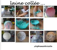 Boule de noel avec ballon et laine