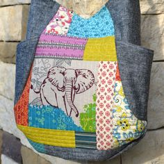 The Elephant Quilted Patchwork 241 Tote Bag by HalfStitched, $58.00