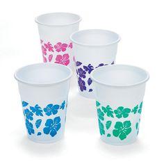 Hibiscus Disposable Plastic Cups - OrientalTrading.com  $7.99 per 50 16oz cups