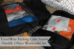 """""""Luckily I can keep all of our things organized by using the  TravelWise Packing Cube System."""" EatSmart ProdutsTravelWise Packing Cube System review by Mommy Mandy."""