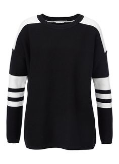 """SPORTS KNIT SWEATER - The """"sports inspired"""" look is really on trend at the moment - black and white colour blocking or bold stripes. This knit is just fabulous."""