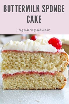This easy to make Buttermilk Sponge Cake has amazing flavor with a soft, light, and tender texture. Paired with just about any filling or frosting, creating the perfect bake for any occasion. A great recipe to have on hand as it's made with basic ingredients and is quick to whip up.