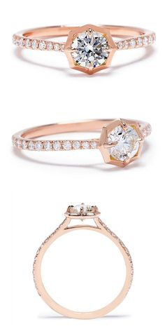 The Jade Trau Clara engagement ring in rose gold.