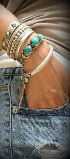 Layer turquoise and silver together for a fun boho look