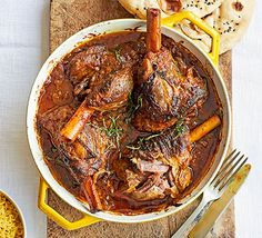 While it takes time, this hearty one-pot lamb curry is easy and you can make it two days in advance for even better flavour. Serve with naan bread and rice Bbc Good Food Recipes, Indian Food Recipes, Cooking Recipes, Ethnic Recipes, Lamb Recipes, Curry Recipes, Chicken Recipes, Madras Recipes, Lamb Shank Recipe