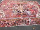 old WORN Persian rug Heriz distressed estate shabby chic worn 9.1x12 carpet