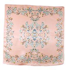 Carré de soie foulard rose bleuets 50x50 premium - Foulard soie carré - Mes Echarpes