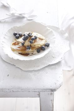 Buttermilk pancakes with blueberries & spiced maple butter