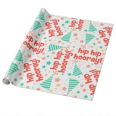 Hip Hip Hooray Green and Orange Wrapping Paper. #wrappingpaper