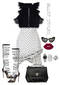 """Poised"" by smackthatash on Polyvore featuring Zimmermann, Altuzarra, Dsquared2, Chanel, Yves Saint Laurent, Lime Crime, Rolex, Sole Society and Bulgari"