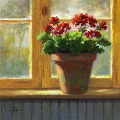 """Geraniums in the Cottage"" - Original Fine Art for Sale - © Linda Jacobus"