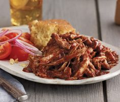 Pulled Chicken with Cherry-Chile Barbecue Sauce Recipe | Epicurious.com