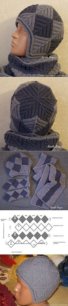 Winter kit with needles in patchwork technique.