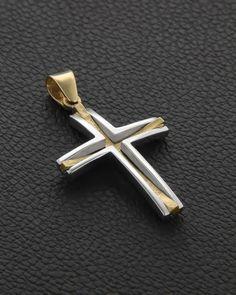 Σταυρός Βάπτισης δυο όψεων Χρυσός & Λευκόχρυσος Cross Jewelry, Jewelry Art, Silver Jewelry, Cross Pendant, Gold Pendant, Christian Symbols, Polymer Clay Jewelry, Fashion Rings, Handcrafted Jewelry