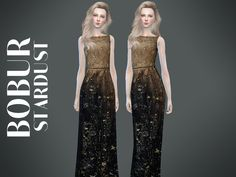 The Sims Resource: Stardust dress by Bobur • Sims 4 Downloads