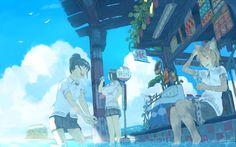 埋め込み Aesthetic Art, Aesthetic Anime, Anime Summer, Animation Storyboard, Tumblr Art, Pretty Drawings, Anime Scenery, Art Studies, Cute Art