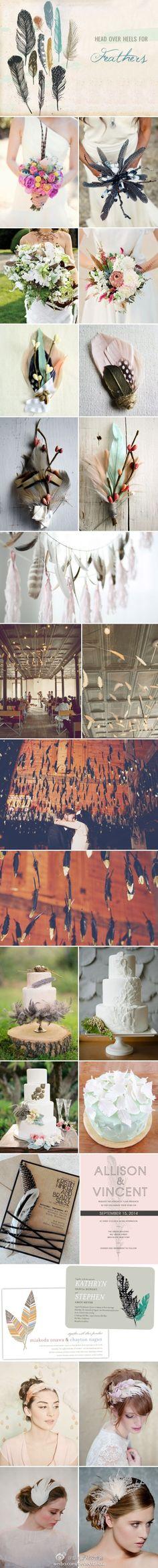 Inspiration of feather: flower,wedding decor,wedding cake,wedding invitation....