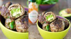 Leckere low-carb Fleischbällchen mit Avocado-Füllung.