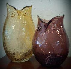 artisan glass owl vases