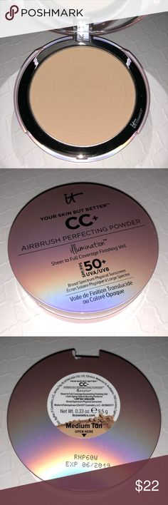 IT COSMETICS MEDIUM TAN AIRBRUSH PERFECTING POWDER Your Skin But Better CC+ Airbrush Perfecting Powder Illumination with SPF 50+. Brand new, never used or swatched, no box. Full-sized product. 100% authentic! Please refer to website or your nearest store for color match.   🎁FREE GIFT WITH PURCHASE ON EVERY BUNDLE!  🚫NO TRADES🚫 IT Cosmetics Makeup Face Powder