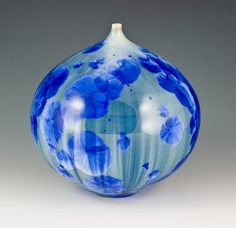 Rotund Blue Crystalline Bottle by MarieWright Etched