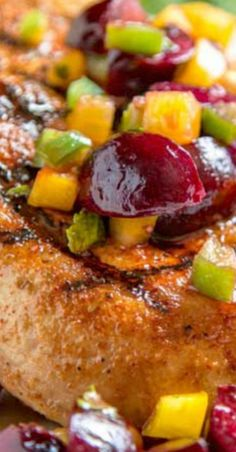 Dry rubbed with a sweet and spicy rub, these grilled pork chops are cooked to tender perfection and topped with a fresh cherry, pepper and honey salsa. Pork Chop Side Dishes, Sides For Pork Chops, Pork Dishes, Grilled Recipes, Pork Recipes, Free Recipes, Cherry Salsa, Best Pork Recipe, Pork Meals